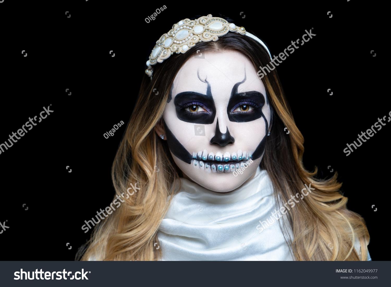 Woman Art Make Scary Skull Makeup Stock Photo Edit Now 1162049977