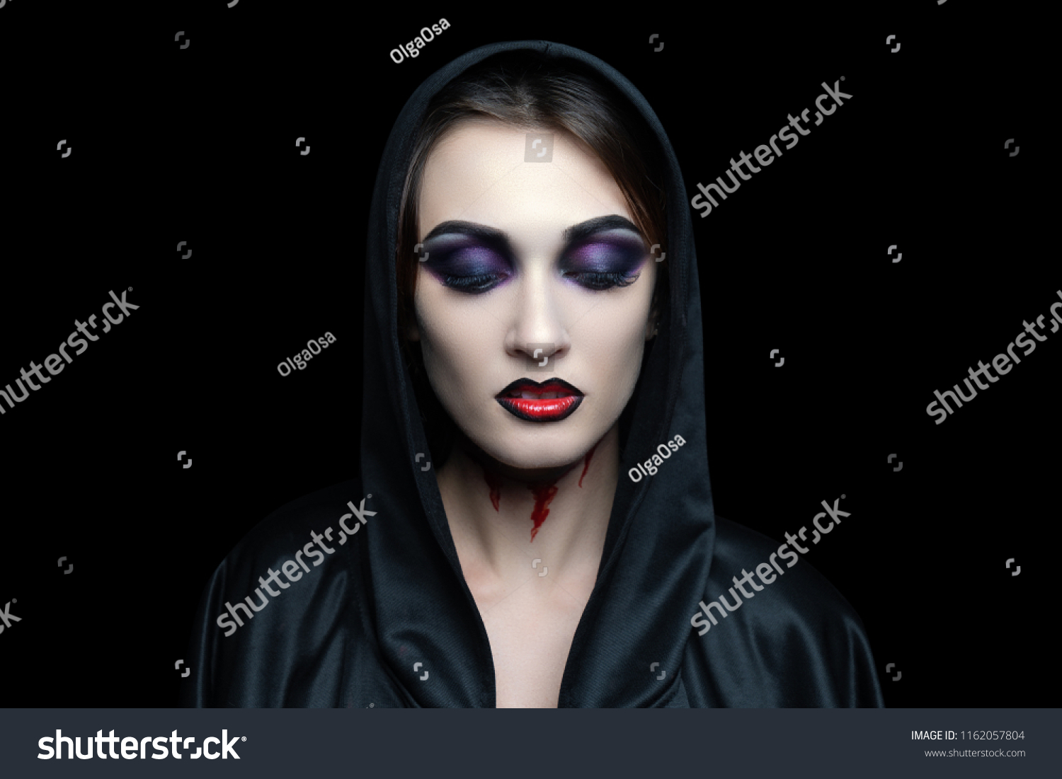 scary vampire makeup halloween cut skin stock photo (edit now