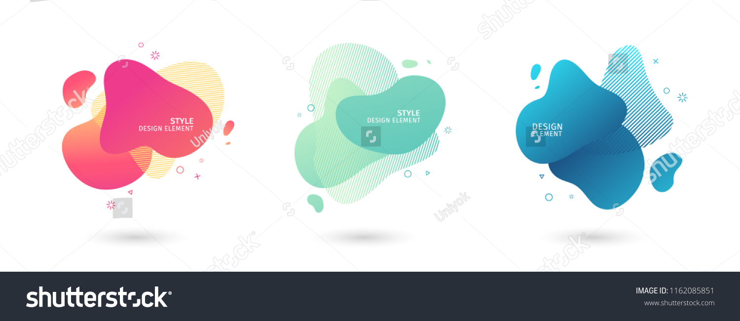 Set of abstract modern graphic elements. Dynamical colored  forms and line. Gradient abstract banners with flowing liquid shapes. Template for the design of a logo, flyer or presentation. Vector. #1162085851