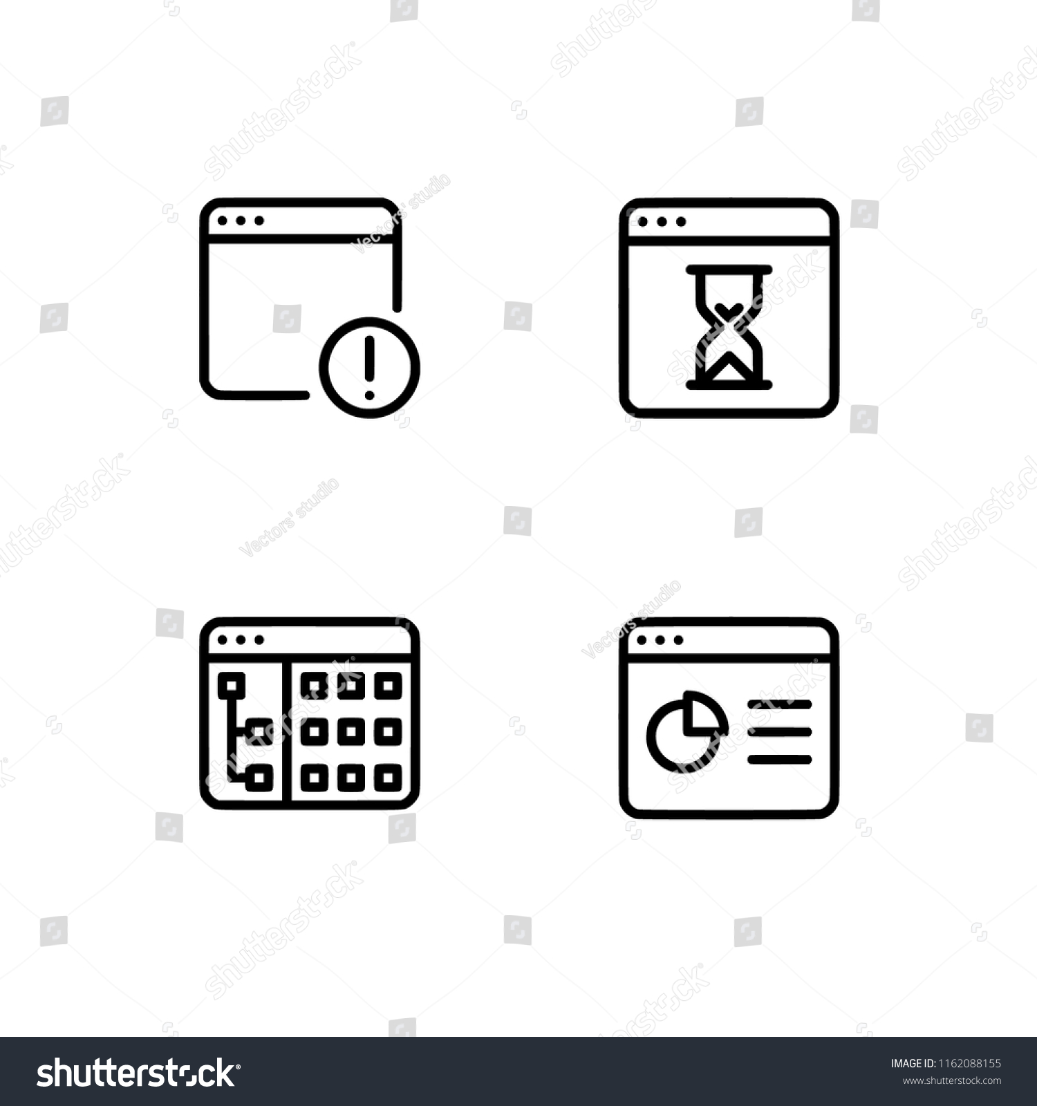 Browser Windows Application Set Outline Icon Stock Vector (Royalty