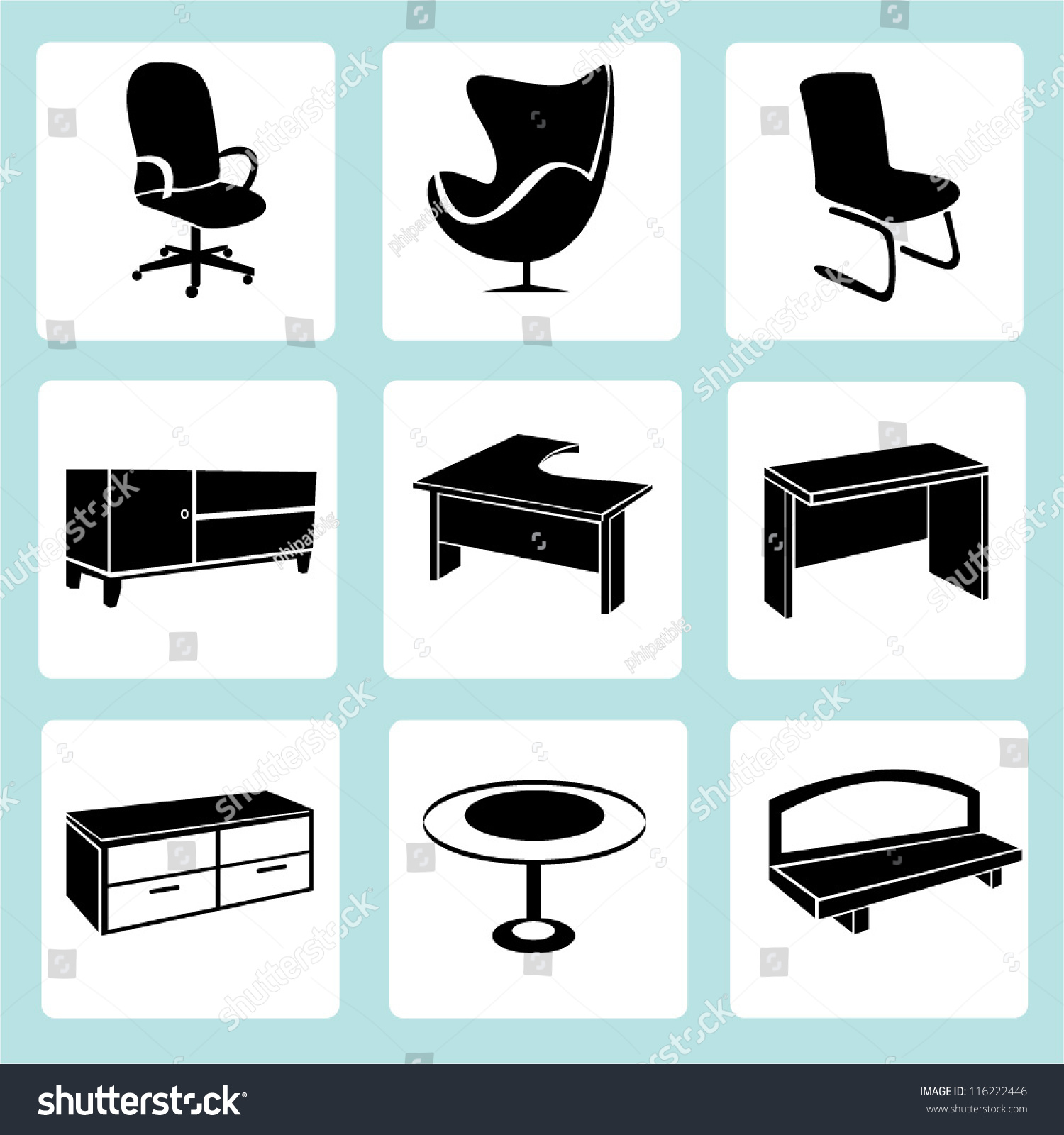 Interior Design Interior Furniture Set Stock Vector