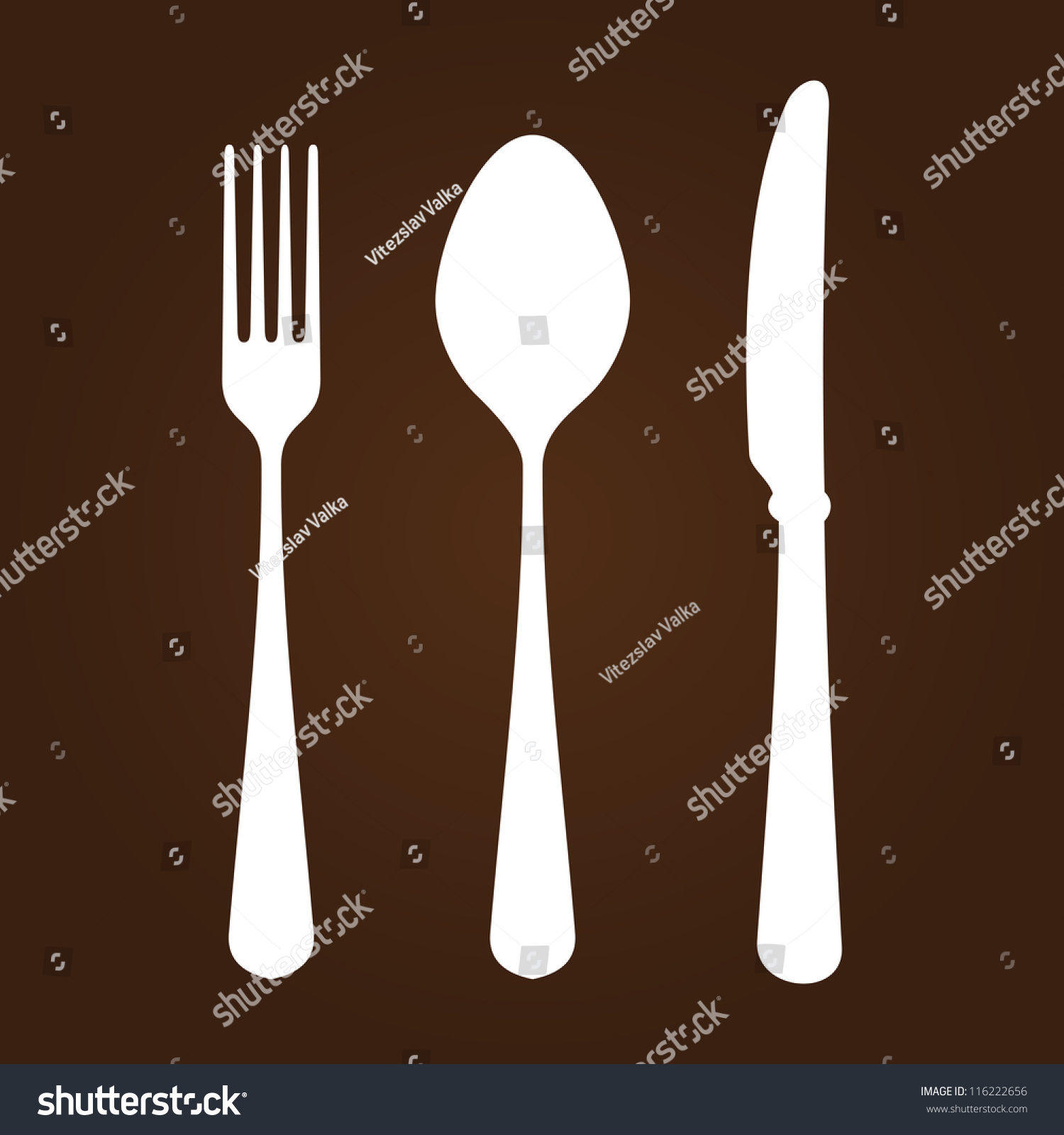 Fork Knife Spoon White Symbols Cutlery Stock Vector