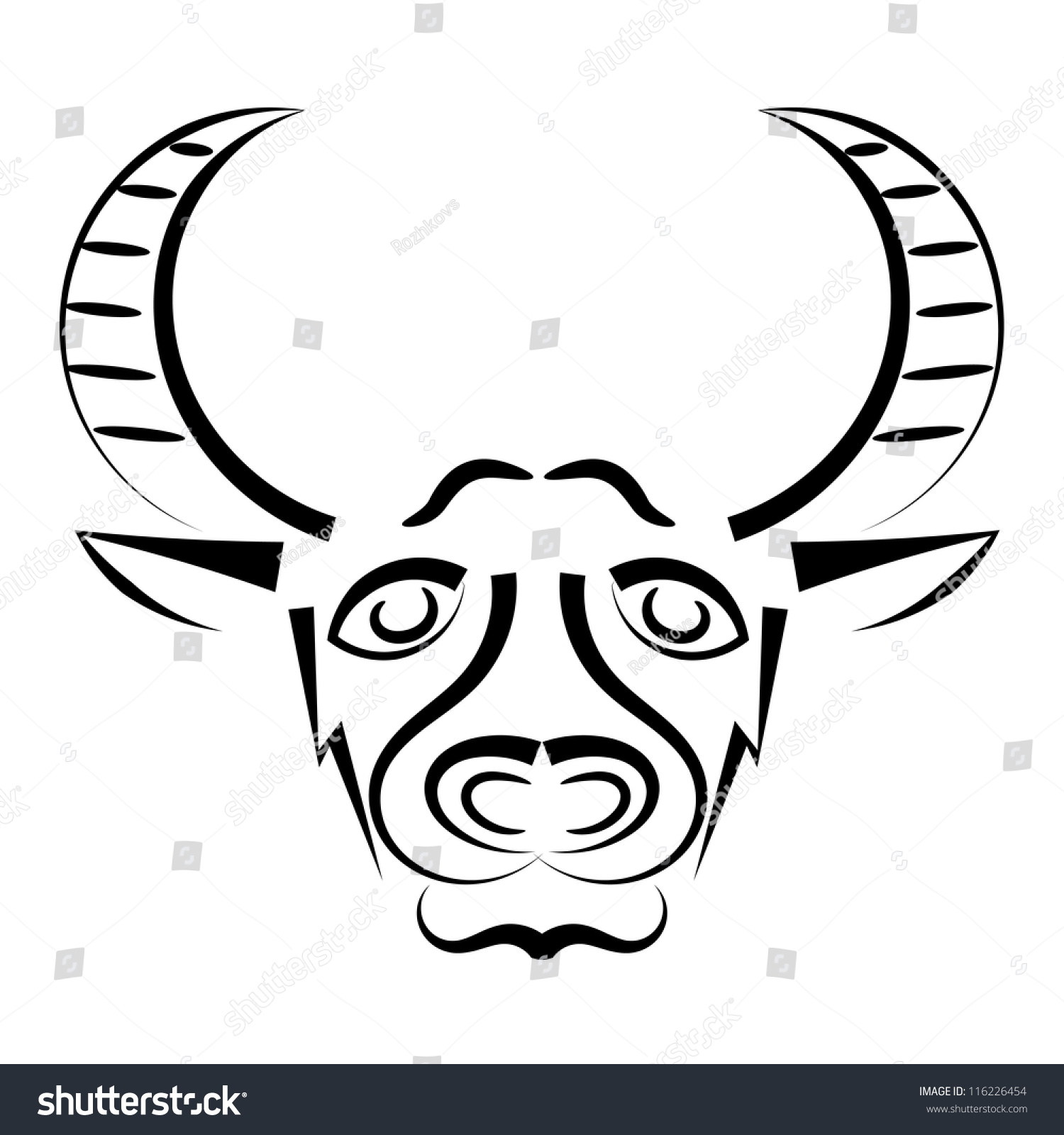 Abstract Silhouette Bulls Head Eps10 Stock Vector