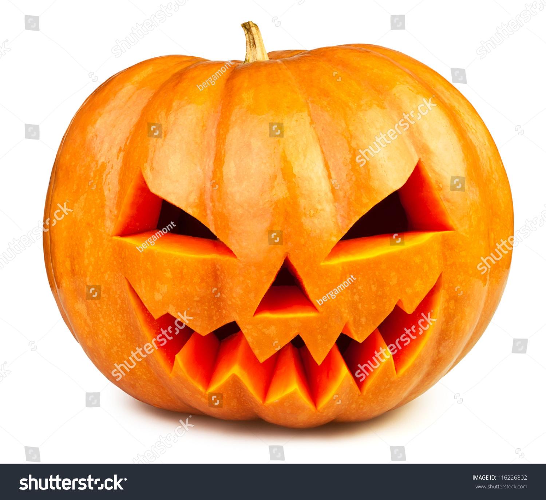 Pumpkin Halloween Jack Olantern Isolated White Stock Photo ...