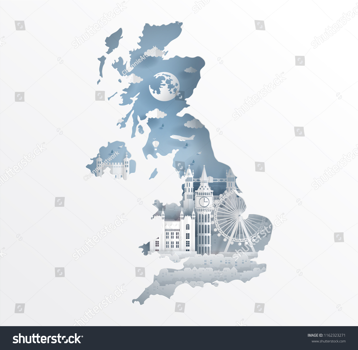Map Of Landmarks In London.London England Map Concept England Famous Stock Vector Royalty Free