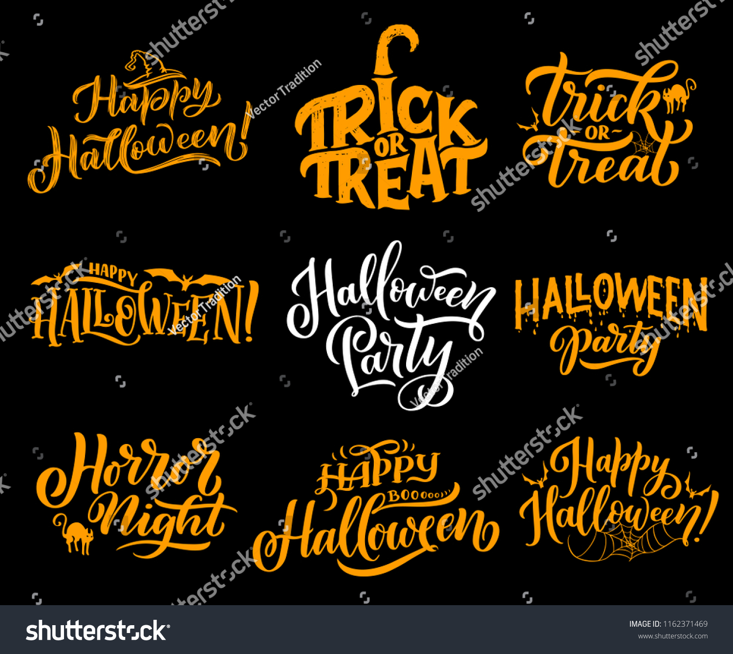 Happy Halloween Lettering Calligraphy Greeting Cards Stock Vector