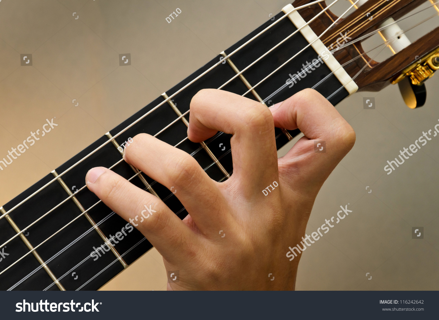 Royalty Free Left Hand Position Basic Chord Of 116242642 Stock