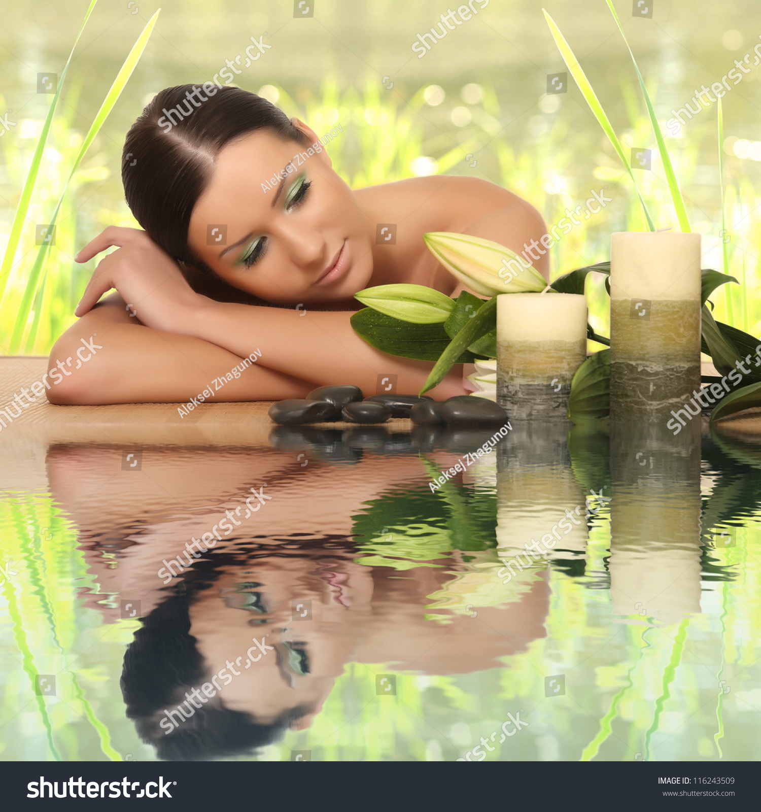 Woman Relaxing In Spa, With Reflection On The Water Stock