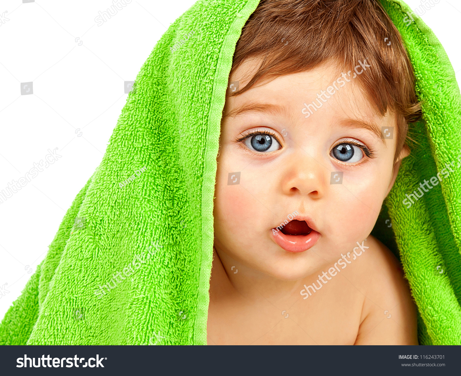 image cute baby boy covered green stock photo (royalty free