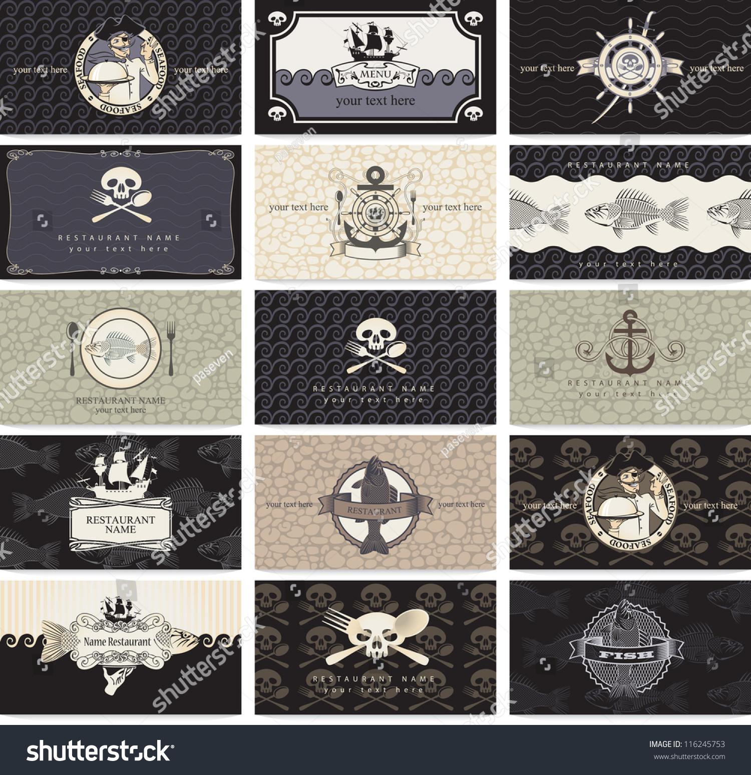 Set Business Cards Pirate Bar Stock Vector 116245753 - Shutterstock