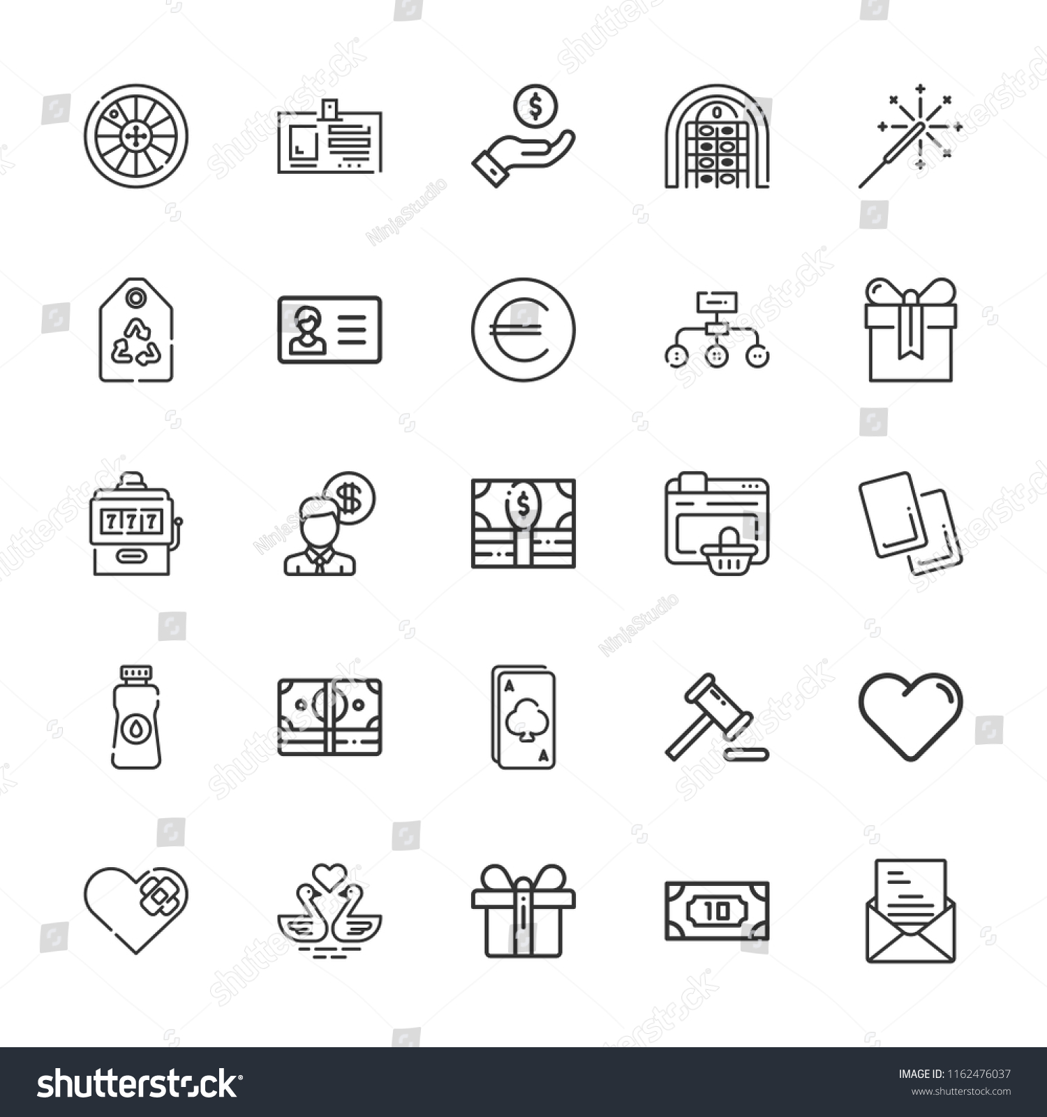 Collection 25 Card Outline Icons Include Stock Vector Royalty Free