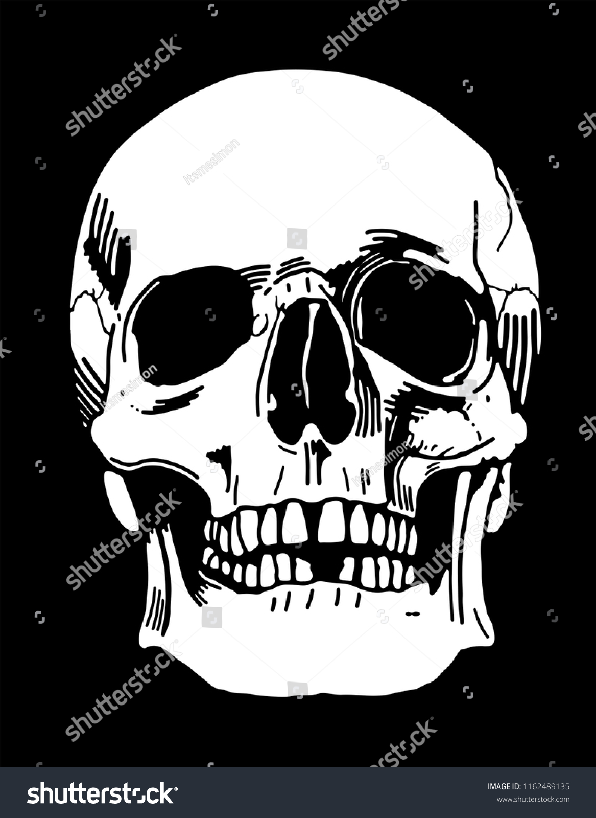 8a5134d6eeb75 Handdrawn Human Skull Illustration On Black Stock Vector (Royalty ...