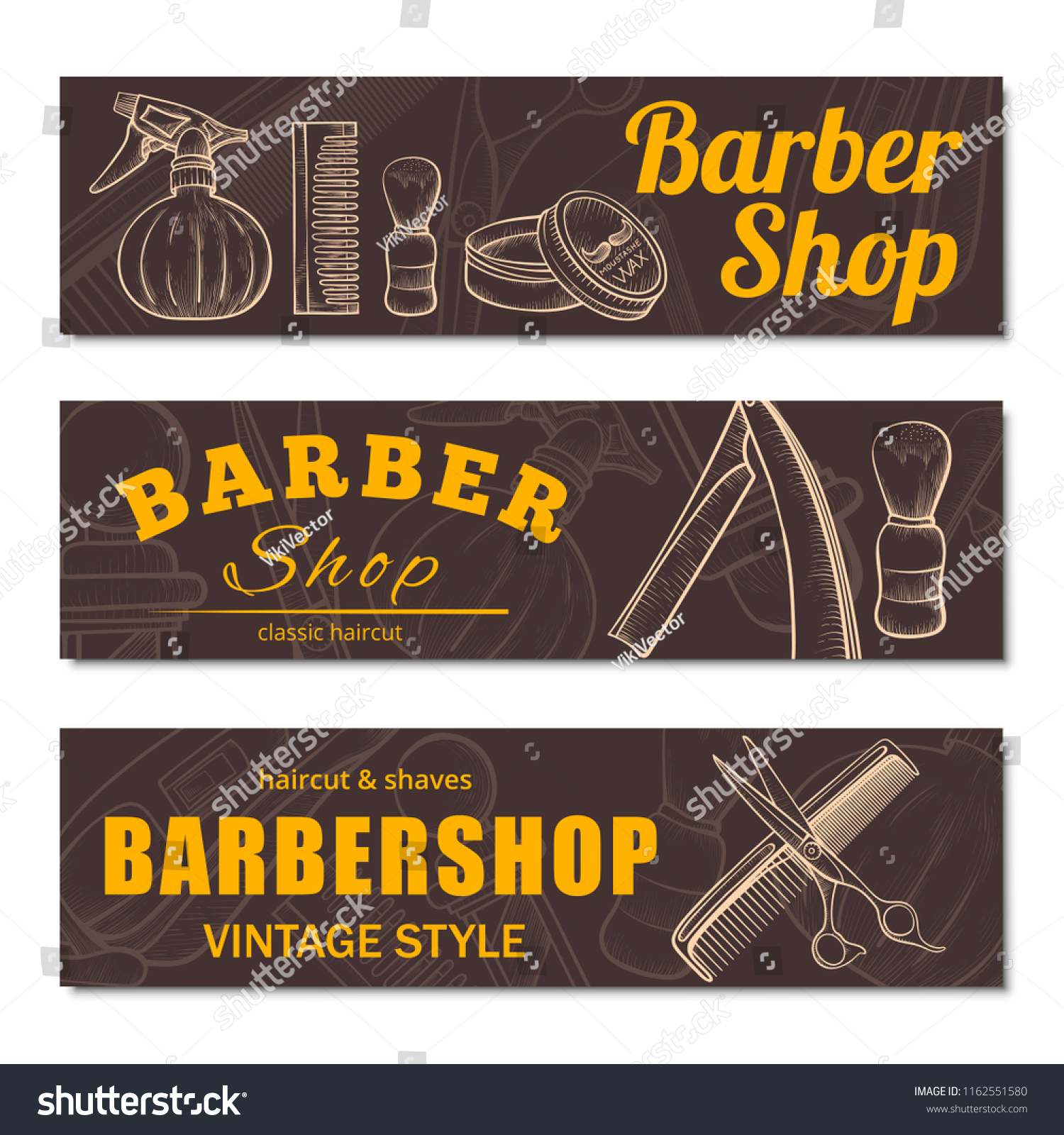 Barbershop Banner Set Barber Place Business Stock Vector Royalty Free 1162551580