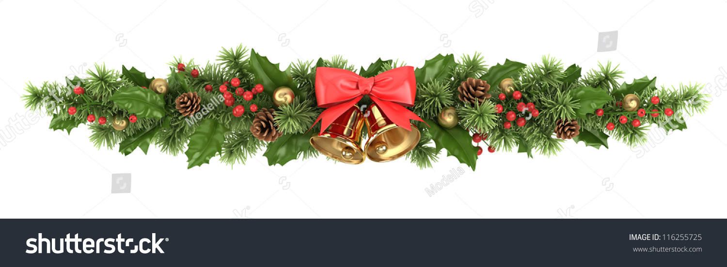 Decorative Border Christmas Tree Branches Holly Stock Photo Edit