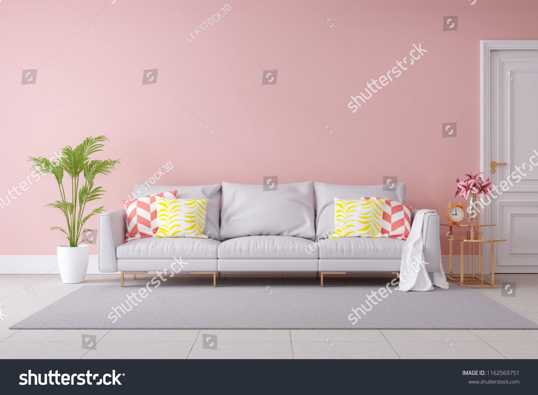 Minimalist Pastel Color Modern Room Interior Stock Illustration ...