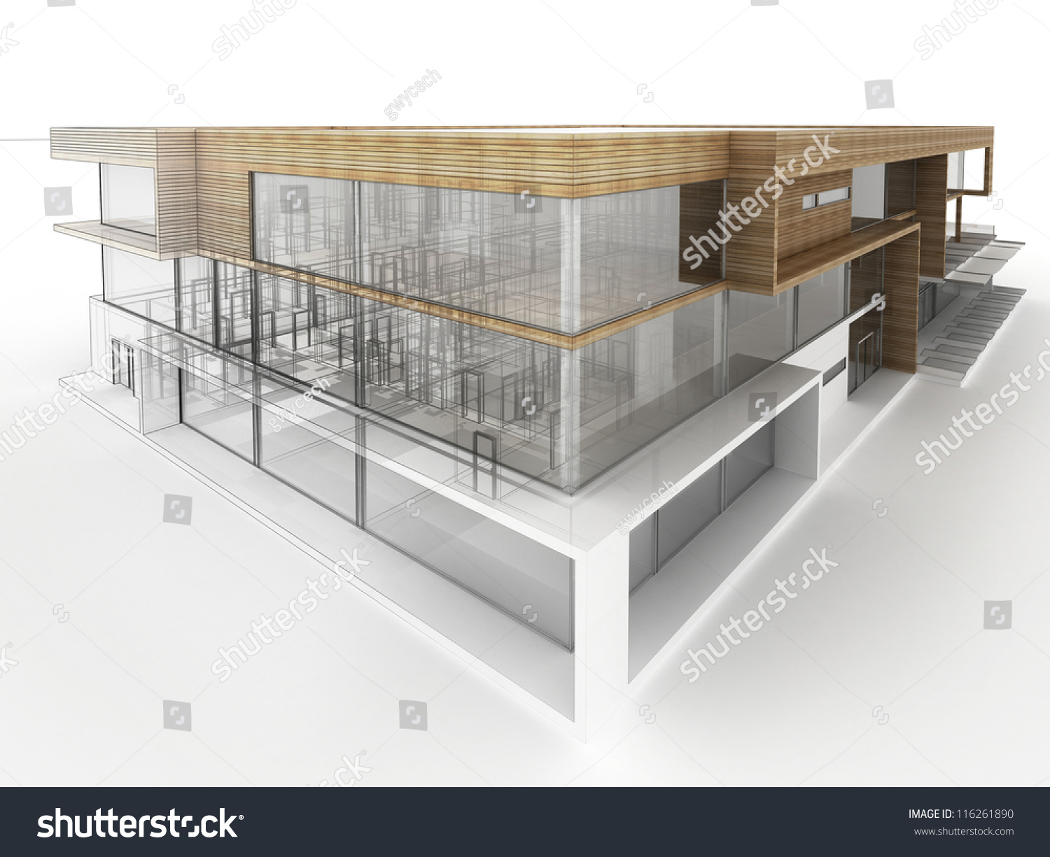 Design Of Modern Office Building. Architects And Designers Computer  Generated Visualization.