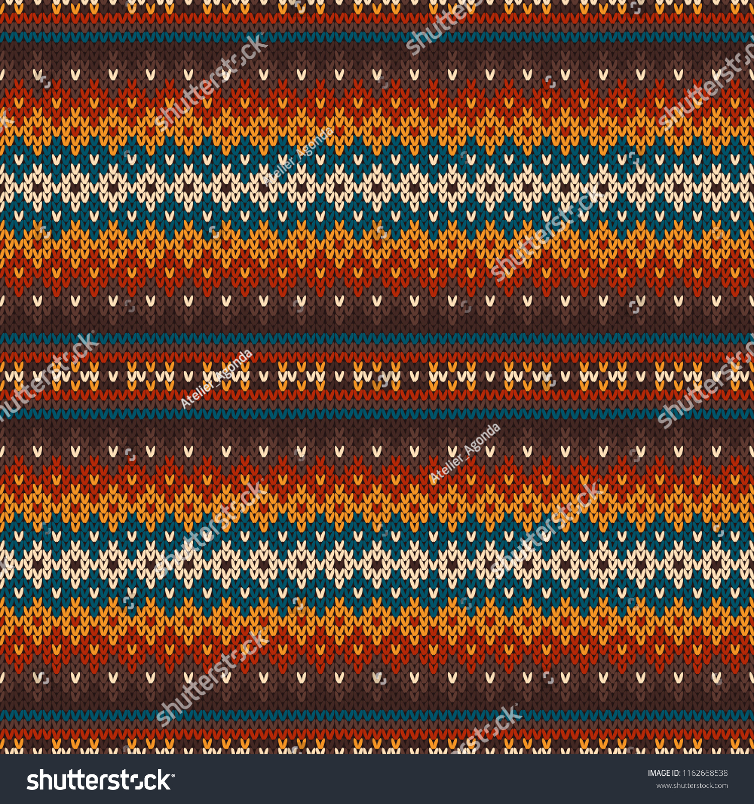 Traditional Sweater Knitted Pattern Design Wool Stock Vector