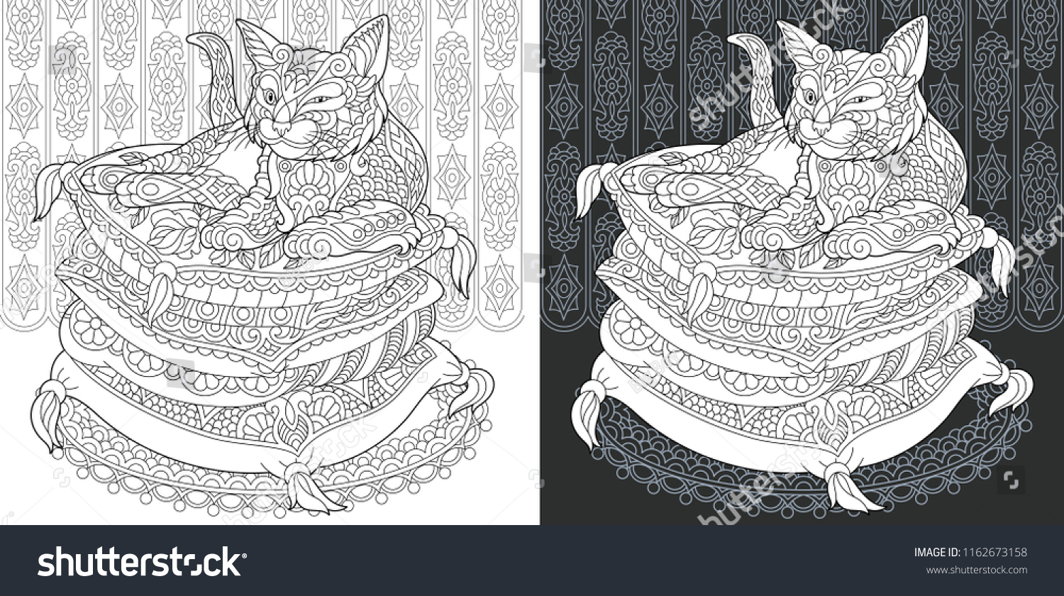 Coloring page coloring book colouring picture with cat drawn in zentangle style antistress