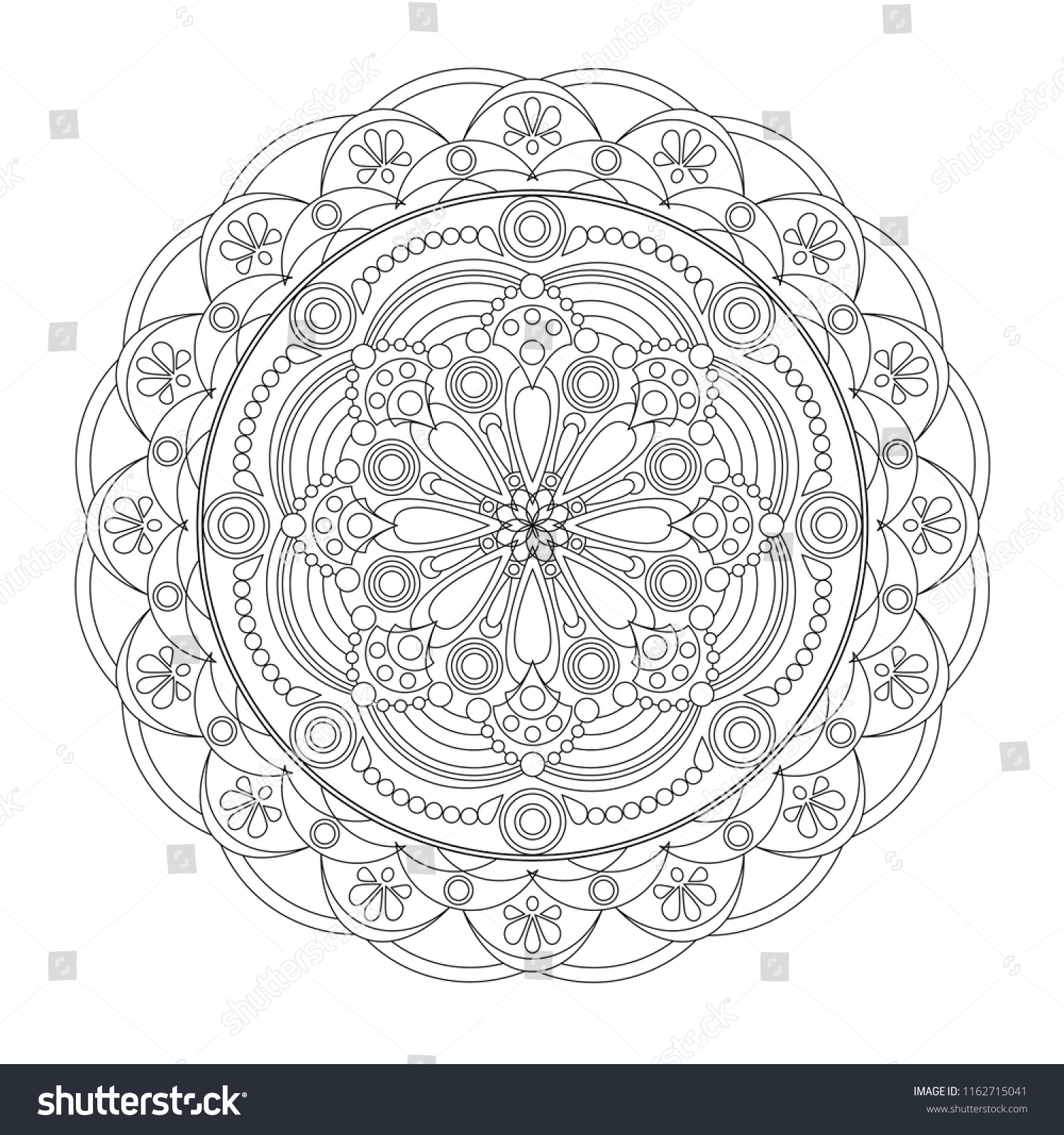stock vector mandala coloring book page art therapy vintage decorative elements oriental pattern vector