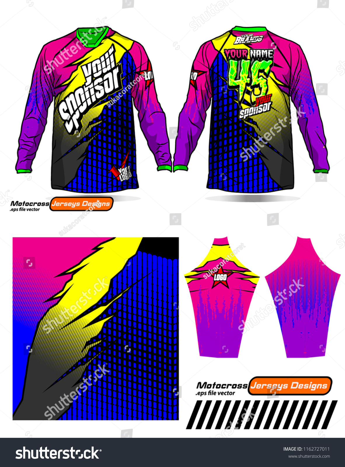 Long Sleeve Motocross Jerseys Tshirts Vector Stock Vector Royalty Free 1162727011