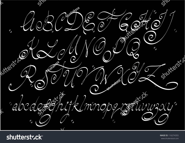 Vector free hand calligraphic alphabet uppercase stock