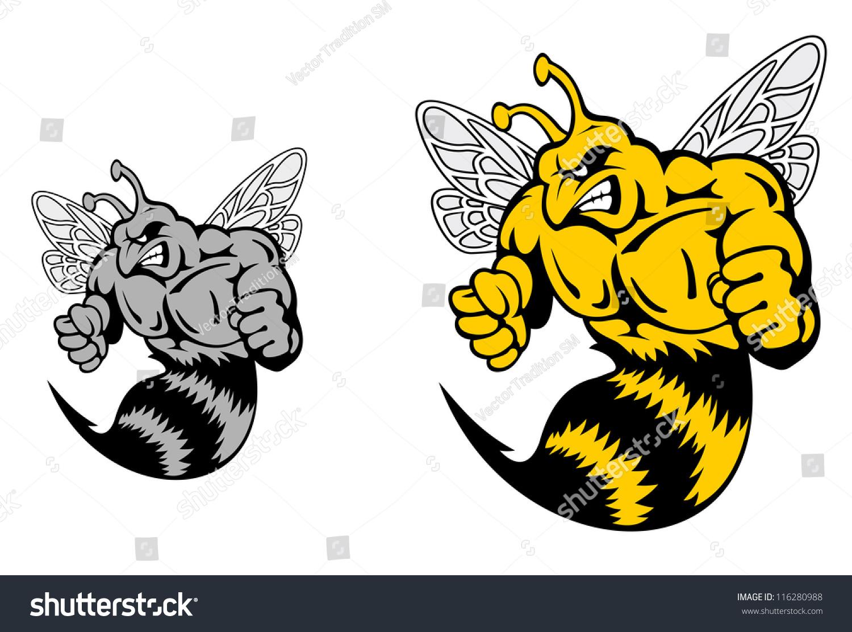 angry hornet yellow jacket mascot cartoon stock vector 116280988