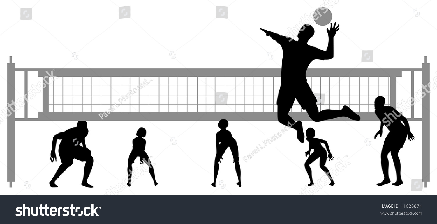 Illustration Abstract Volleyball Player Silhouette: Volleyball Game Silhouette Vector 2