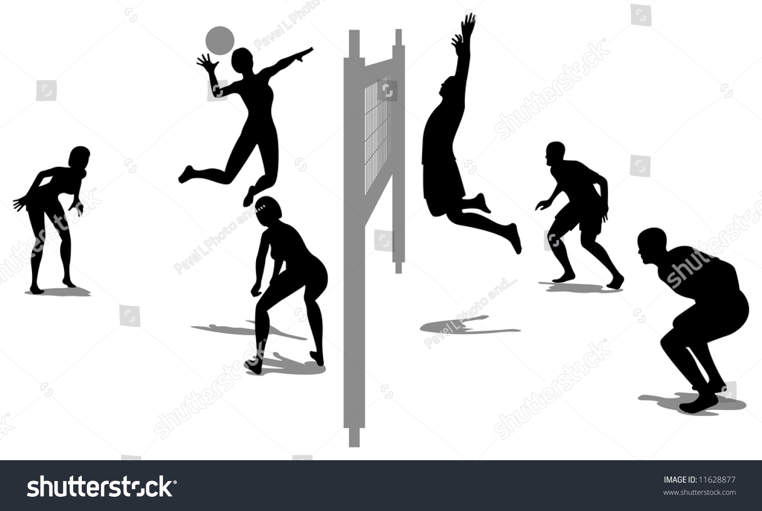 Volleyball Game Silhouette Vector 3