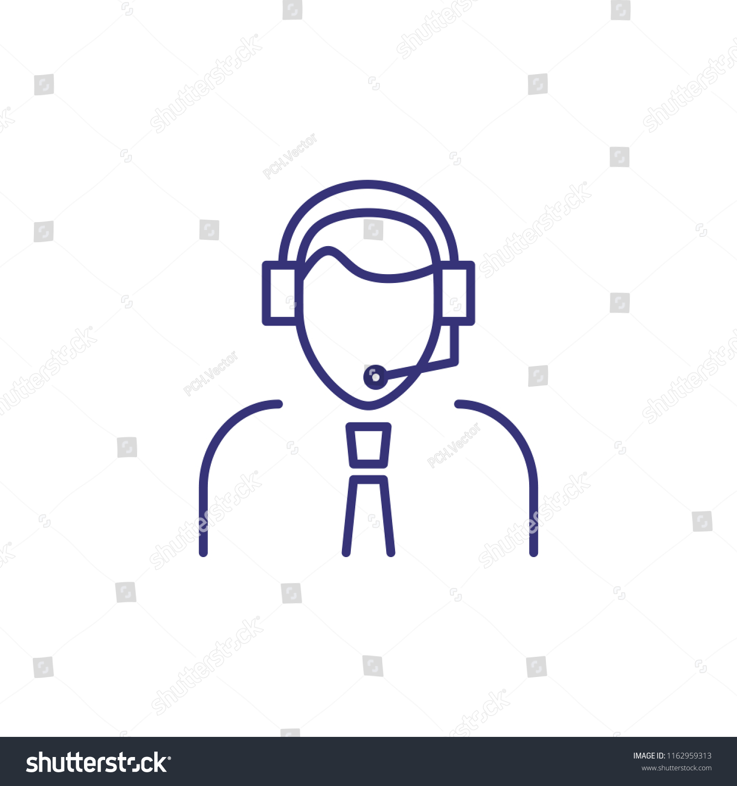 Support Operator Line Icon Male Call Stock Vector (Royalty