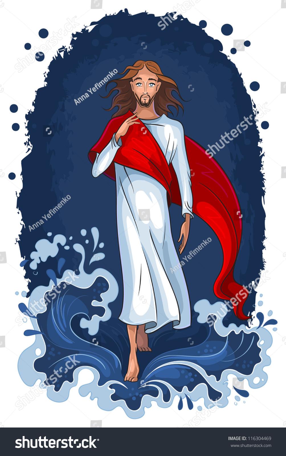 bible story jesus walking on water stock vector 116304469