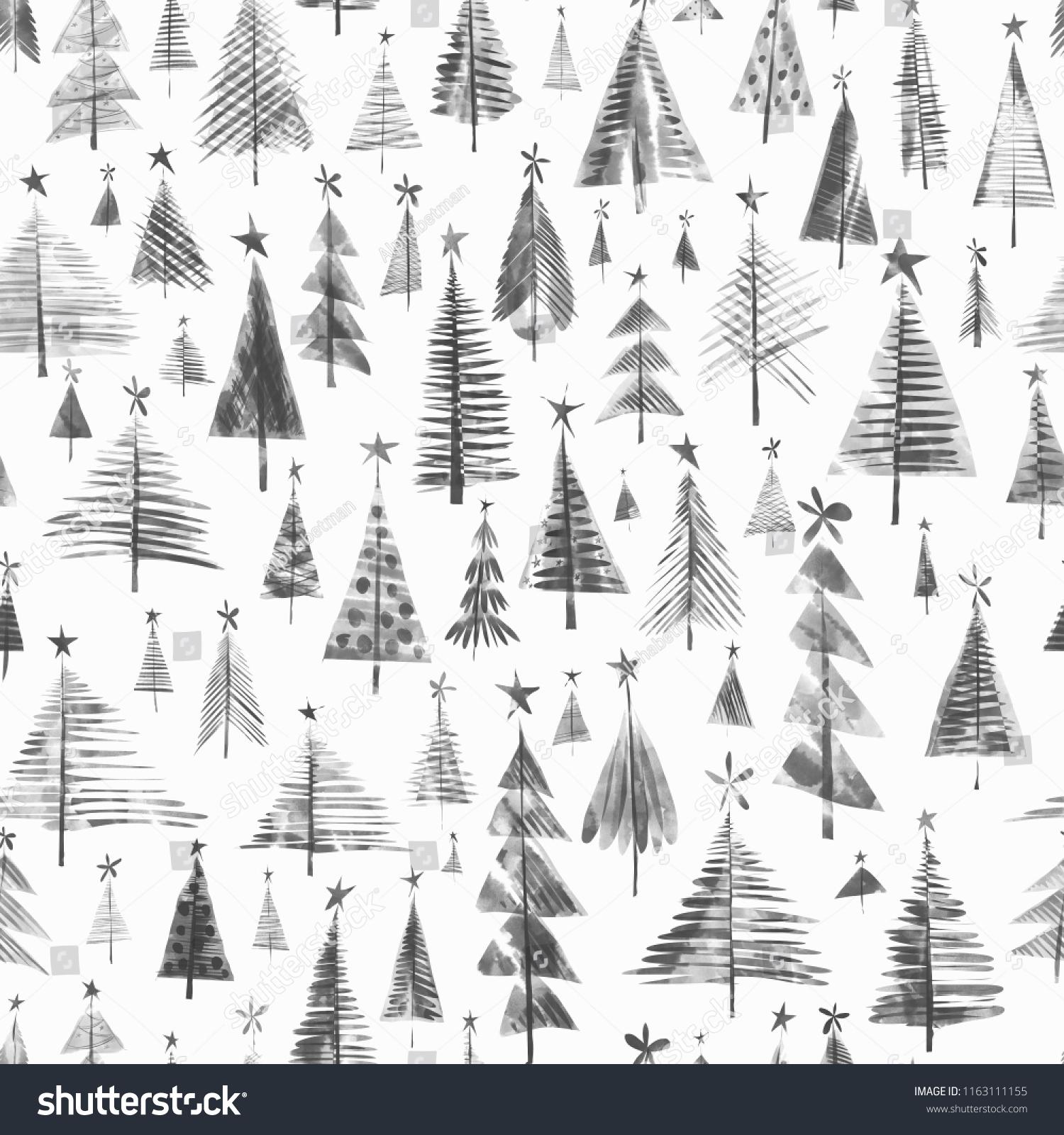 Black White Christmas Trees On White Stock Illustration 1163111155