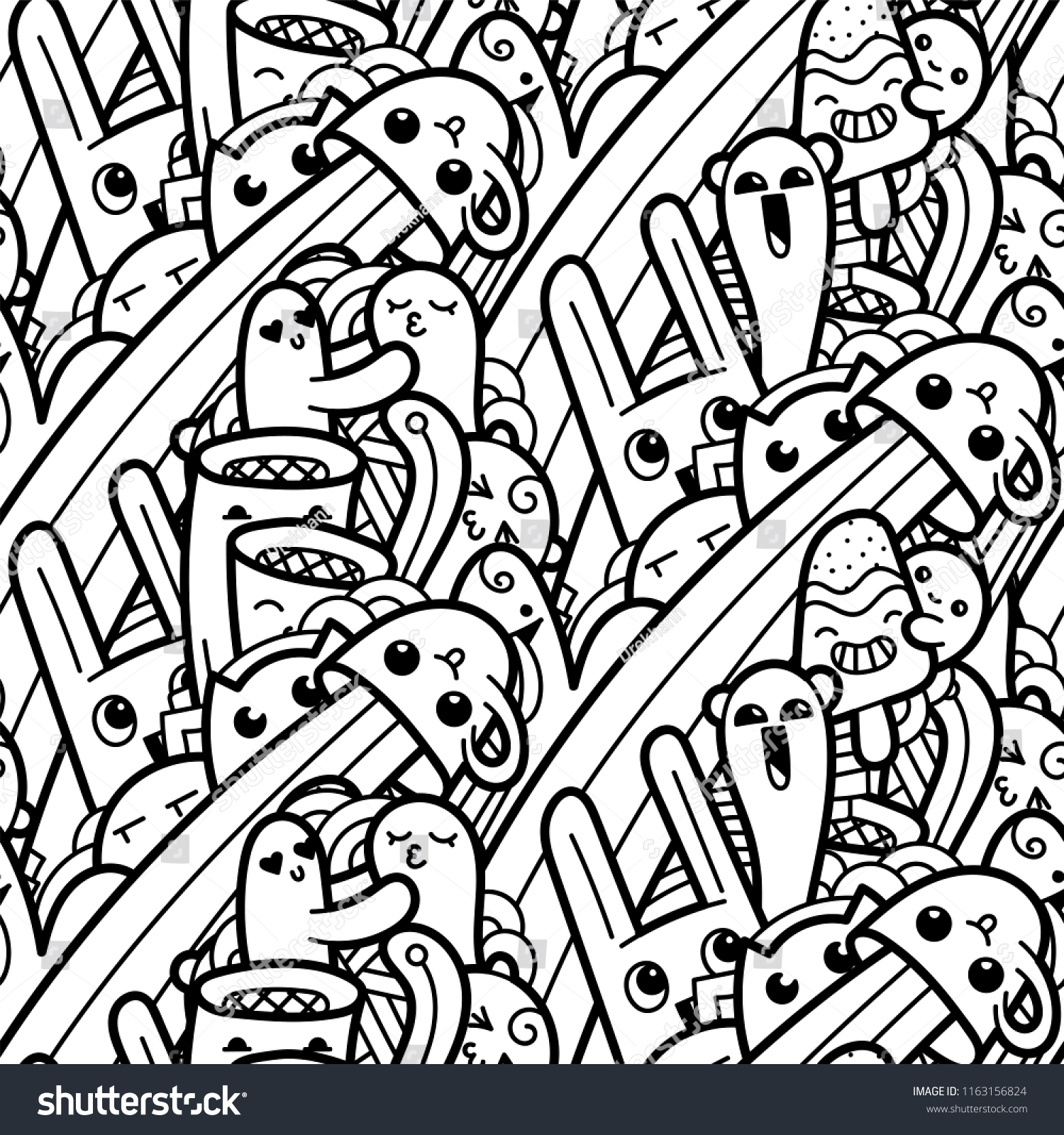 Funny Doodle Monsters Seamless Pattern Prints Stock Vector (Royalty ...