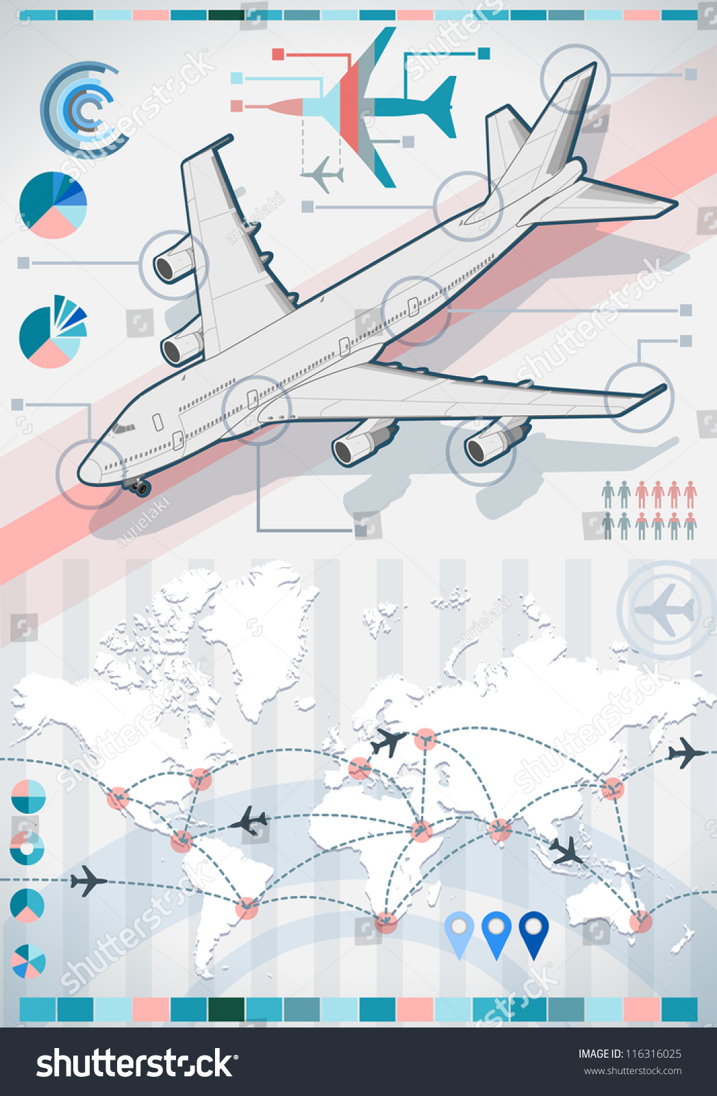 Isometric Airplane Infographic 3d Diagram Aviation Stock ... on