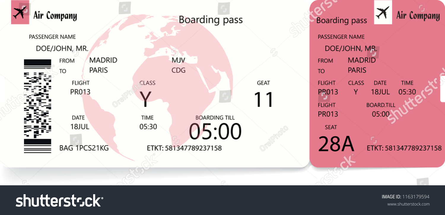 4d9f5c310f0 Airplane ticket. Boarding pass ticket template. Vector illustration in red  or rose colors
