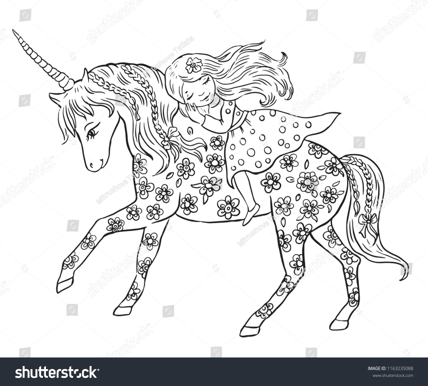 Unicorn Little Princesscoloring Page Kids Stock Vector Royalty Free 1163235088