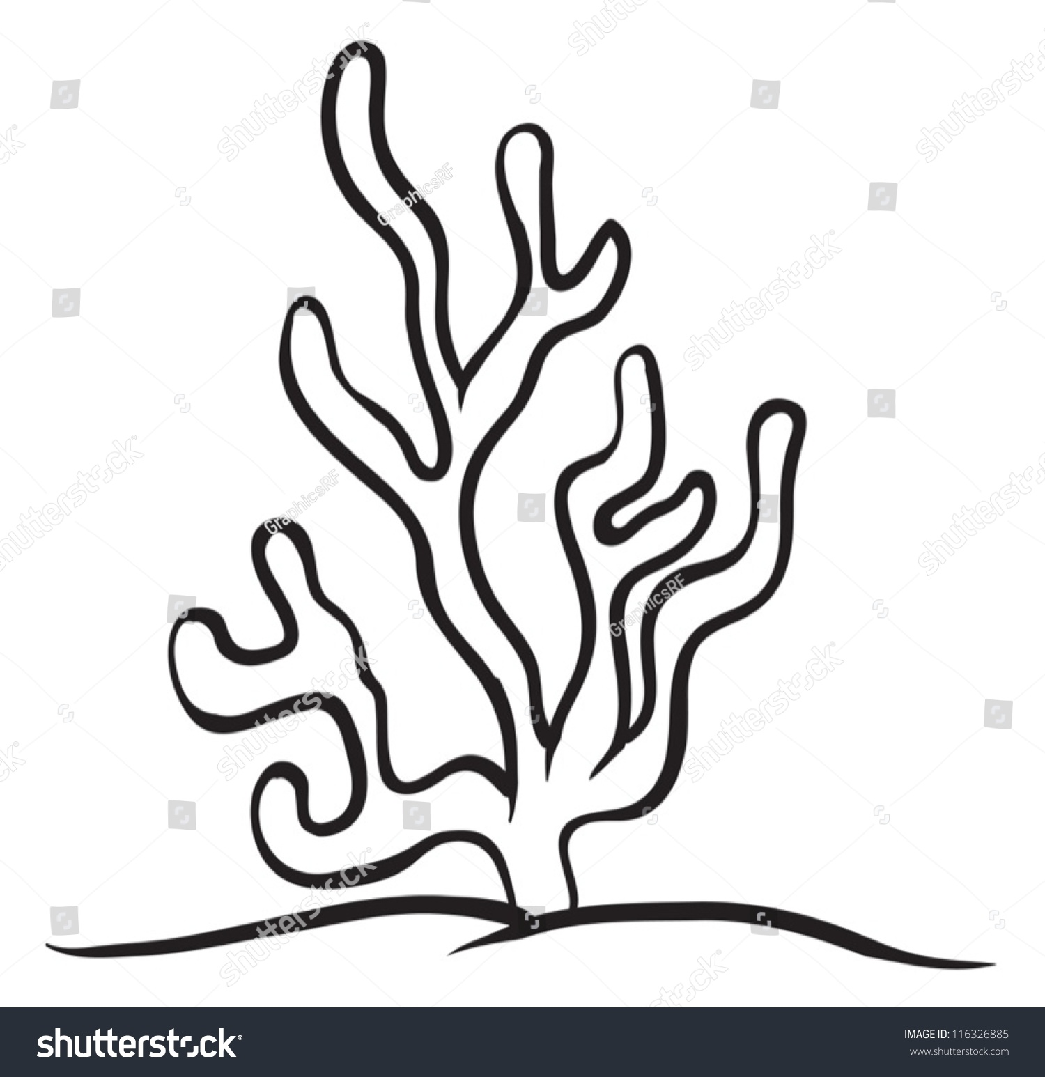 Stock Vector Illustration Of A Under Water Plant On A White Background