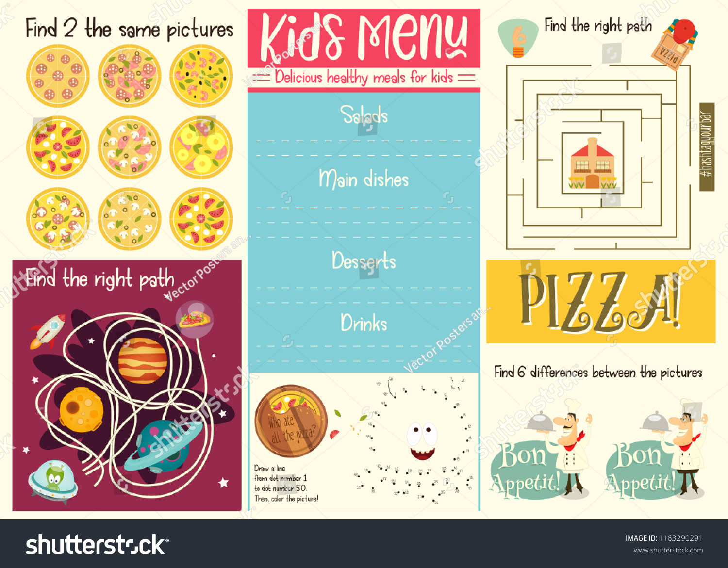 Kids Menu Template Placemat Cafe Pizzeria Image Vectorielle De Stock