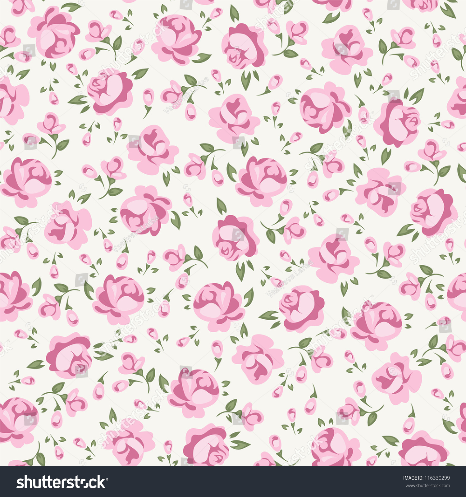 Shabby Chic Rose Pattern Scrap Booking Floral Seamless Background 116330299