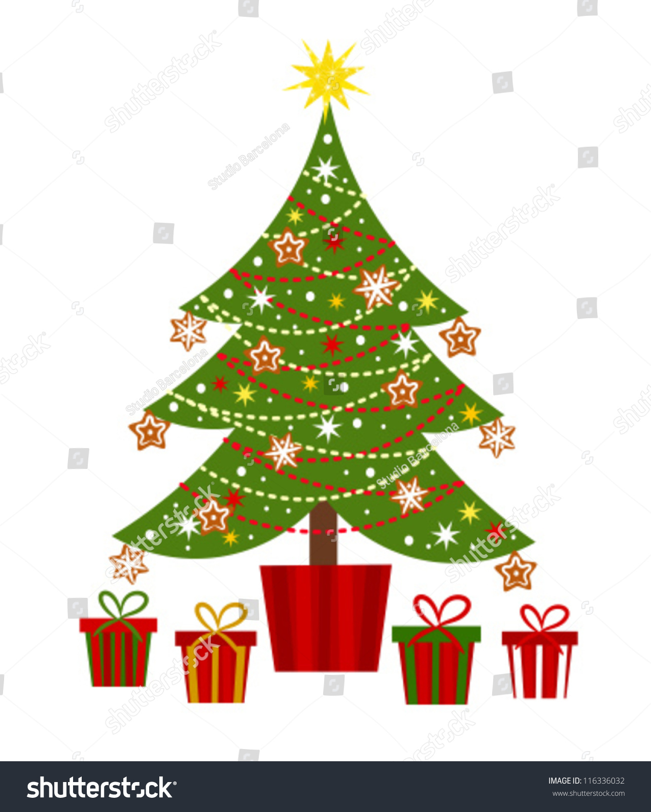 Decorated christmas tree presents vector illustration