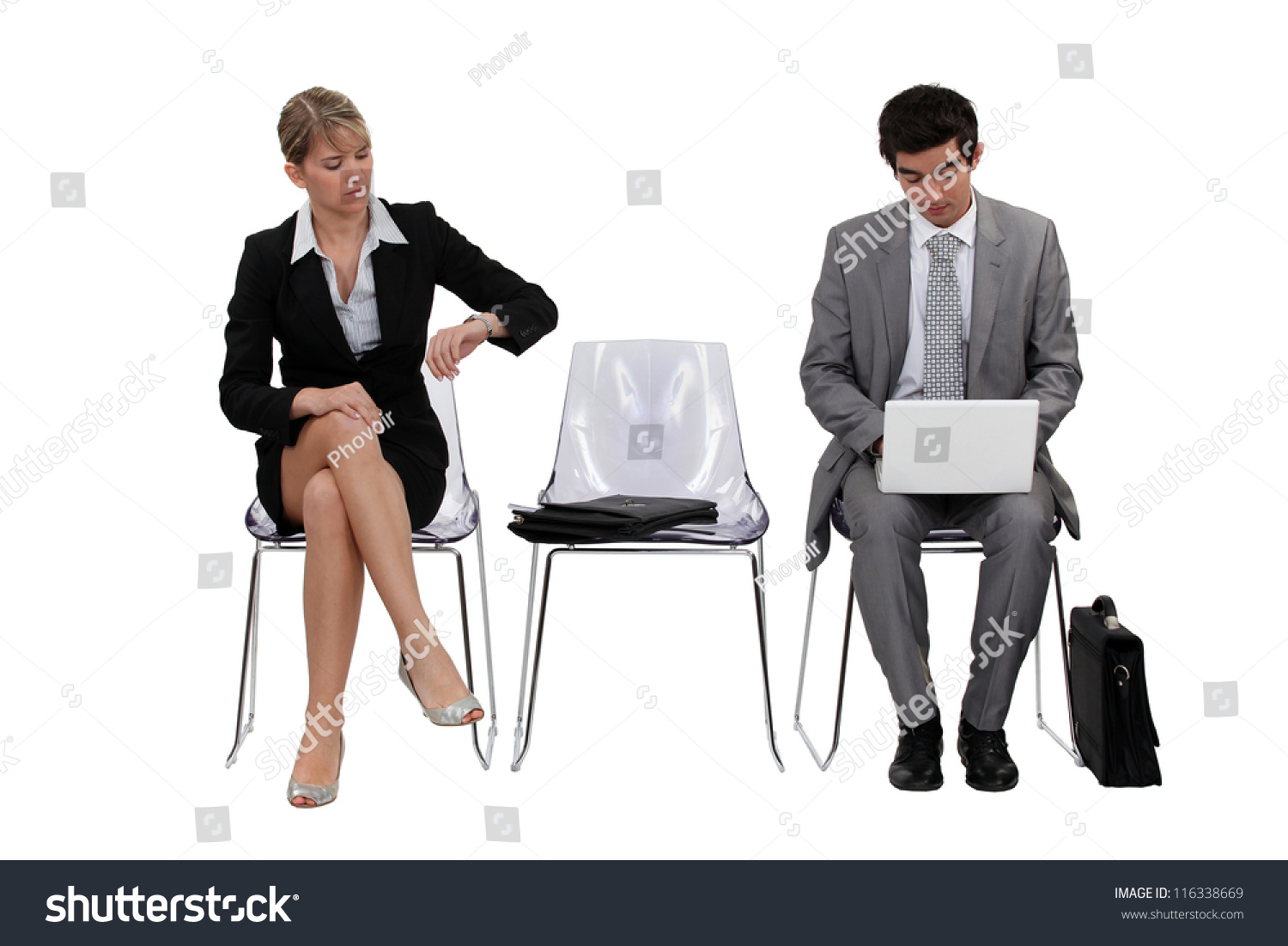 Two Businesspeople Waiting Stock Photo 116338669 - Shutterstock