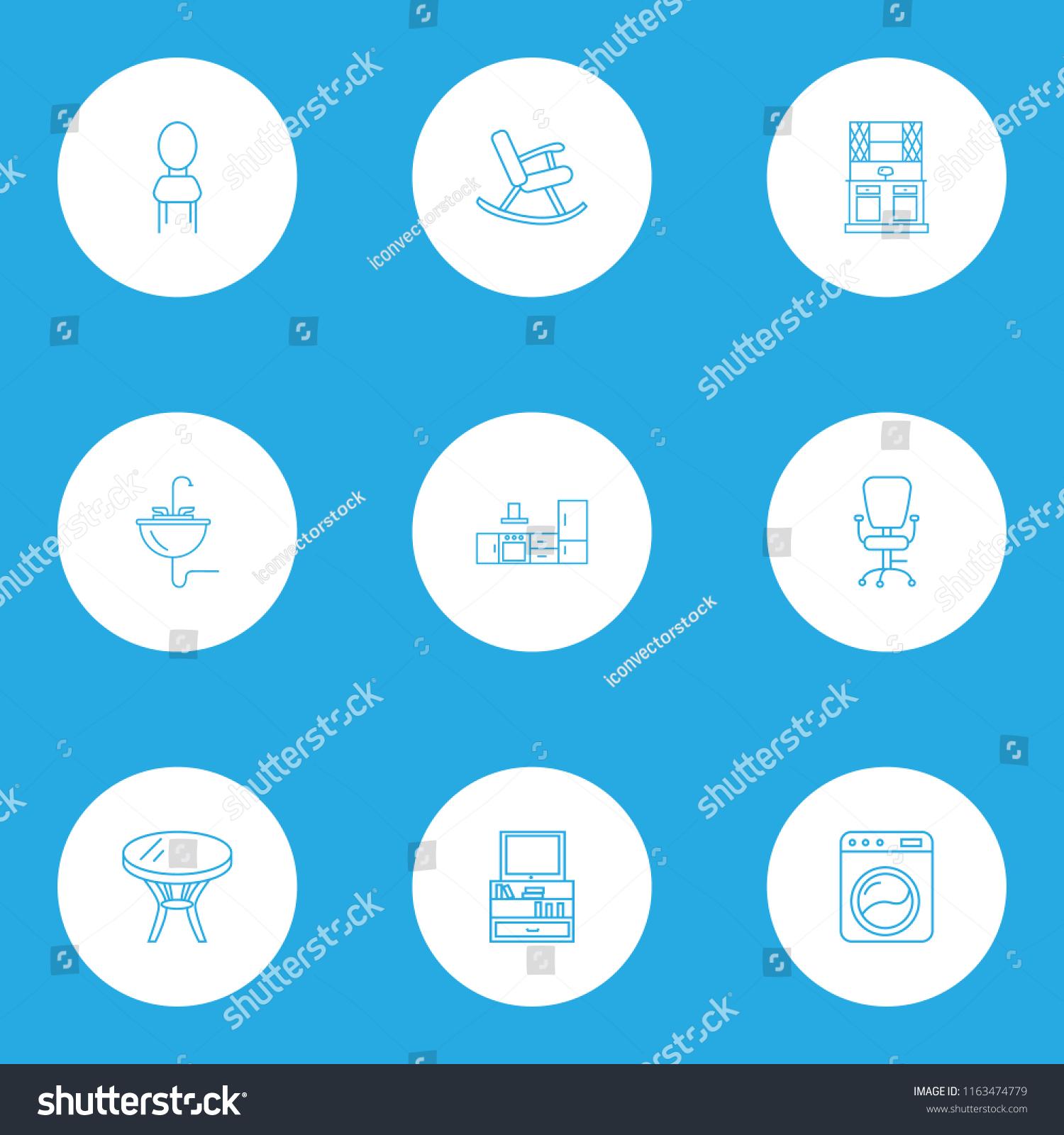 Decor Icons Line Style Set Sink Stock Illustration 1163474779