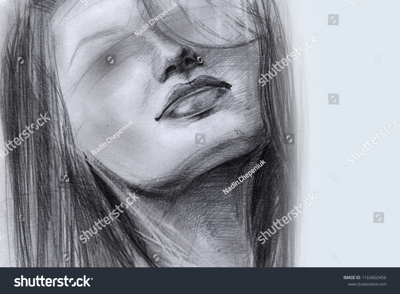 Portrait girl face hair blind sketch stock illustration royalty
