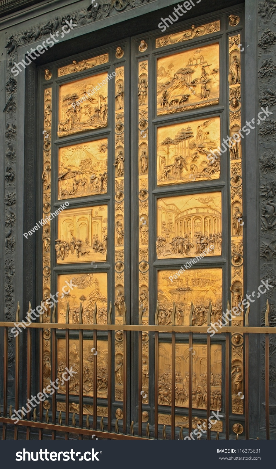 Florence baptistery famous golden entrance door Italy. Baptistery is one of the oldest buildings & Florence Baptistery Famous Golden Entrance Door Stock Photo ... Pezcame.Com