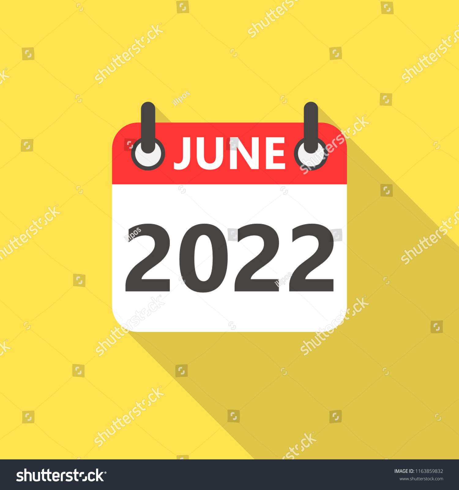 2022 June Calendar.June 2022 Calendar Flat Style Icon Stock Vector Royalty Free 1163859832