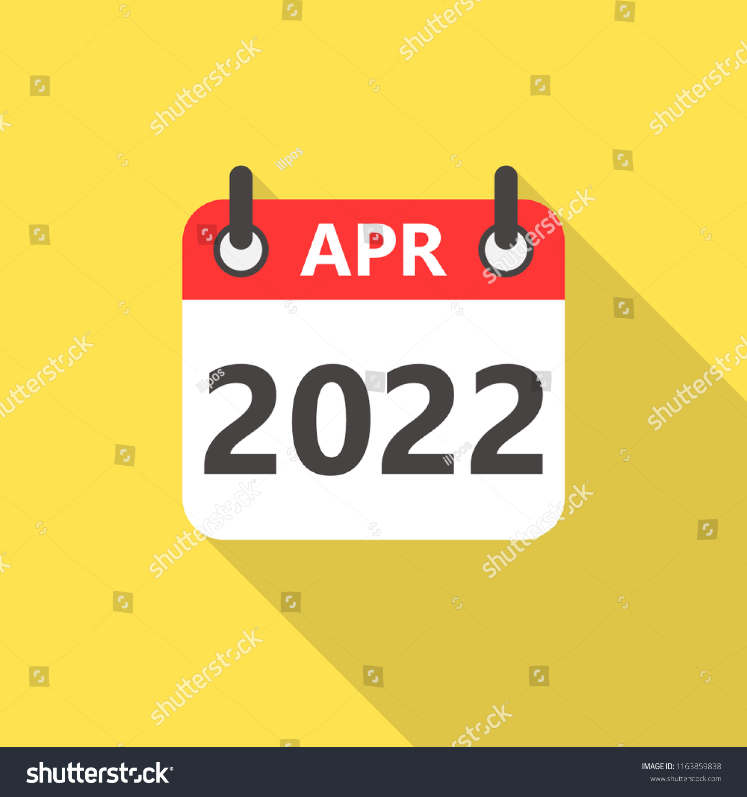 Calendar 2022 April.April 2022 Calendar Flat Style Icon Stock Vector Royalty Free 1163859838