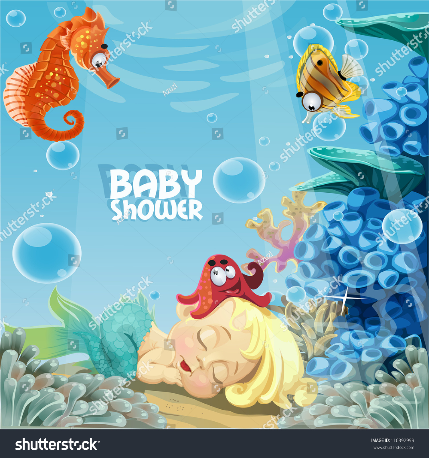 Baby Shower Sleeping Sweet Newborn Mermaid Stock Vector