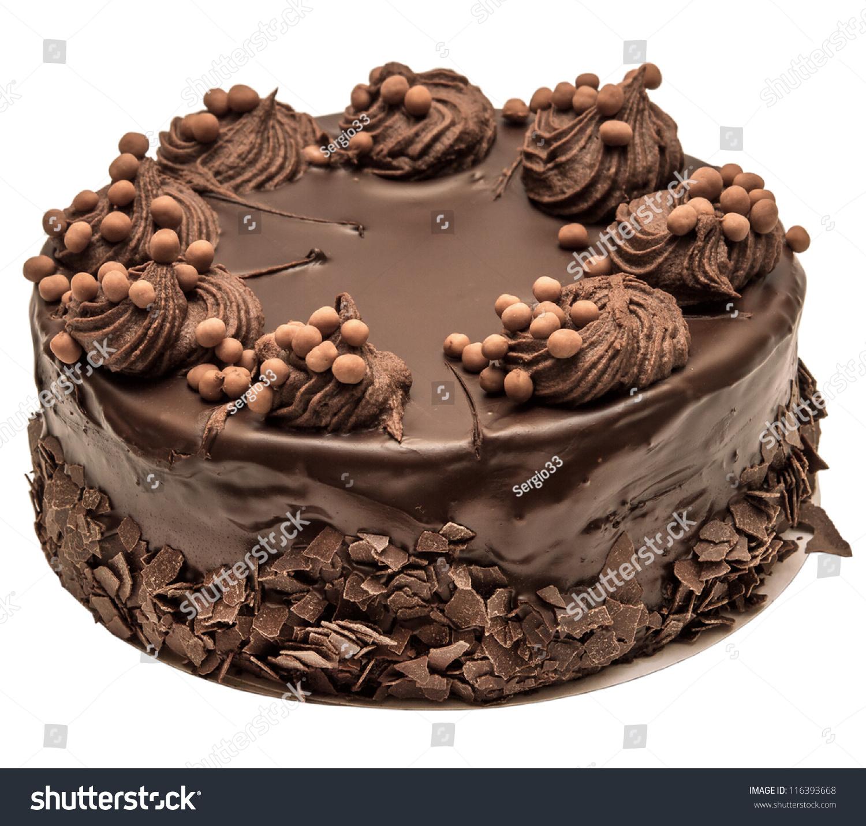 Chocolate Cake Isolated On White Background Stock Photo
