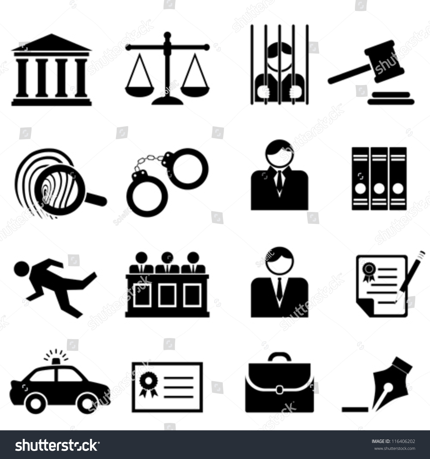 Legal, Law And Justice Icon Set Stock Vector Illustration ...