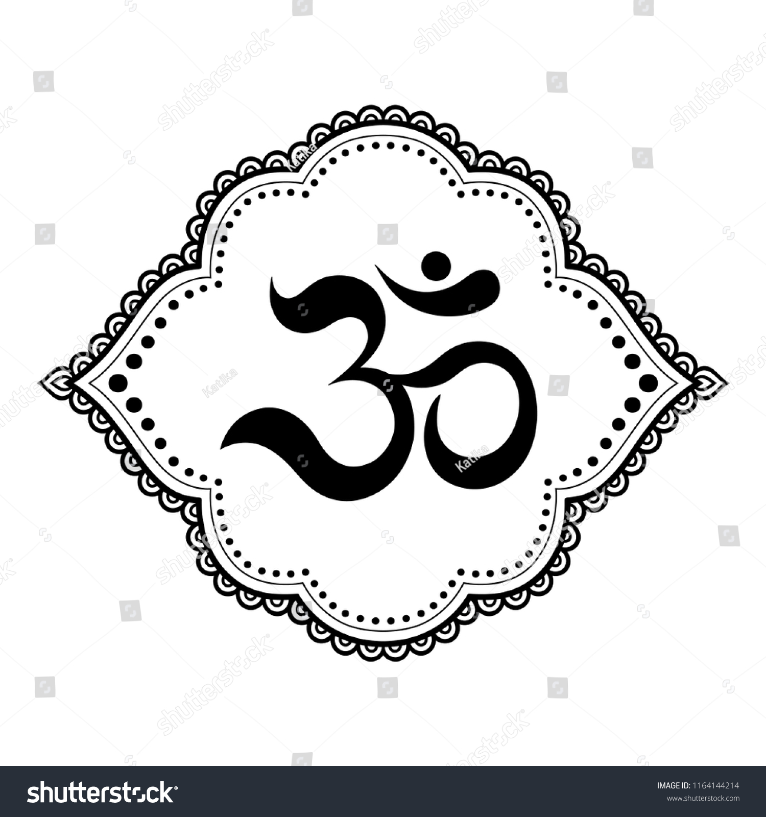 Mehndi Flower Pattern Mantra Om Symbol Stock Vector Royalty Free