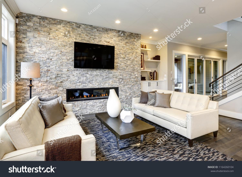 Beautiful Modern Living Room Interior Stone Stock Photo Edit Now